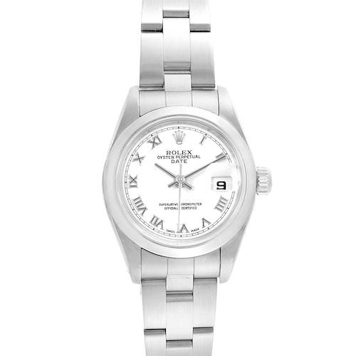 Photo of Rolex Date 26 White Dial Domed Bezel Steel Ladies Watch 79160