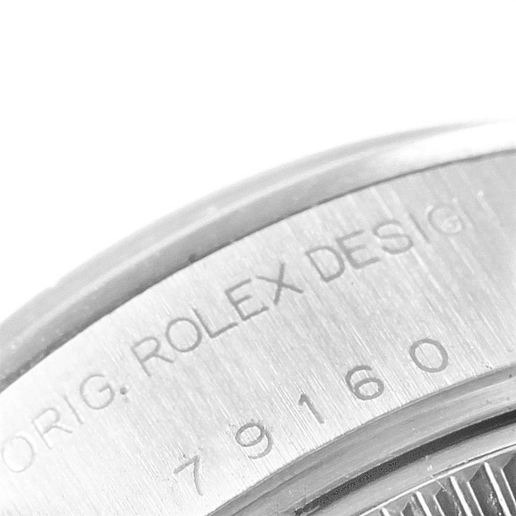 22524 Rolex Date Blue Dial Domed Bezel Steel Ladies Watch 79160 SwissWatchExpo