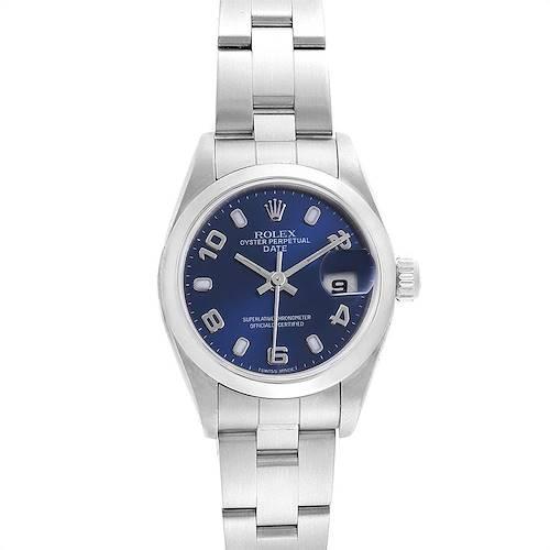 Photo of Rolex Date Blue Dial Domed Bezel Steel Ladies Watch 79160