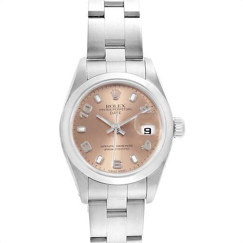 Photo of Rolex Date 26 Salmon Dial Domed Bezel Steel Ladies Watch 79160