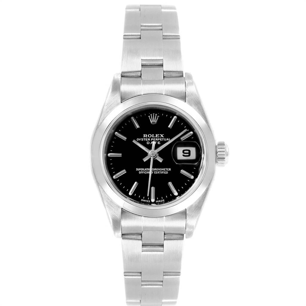 22495 Rolex Date Black Dial Oyster Bracelet Steel Ladies Watch 79160 Papers SwissWatchExpo