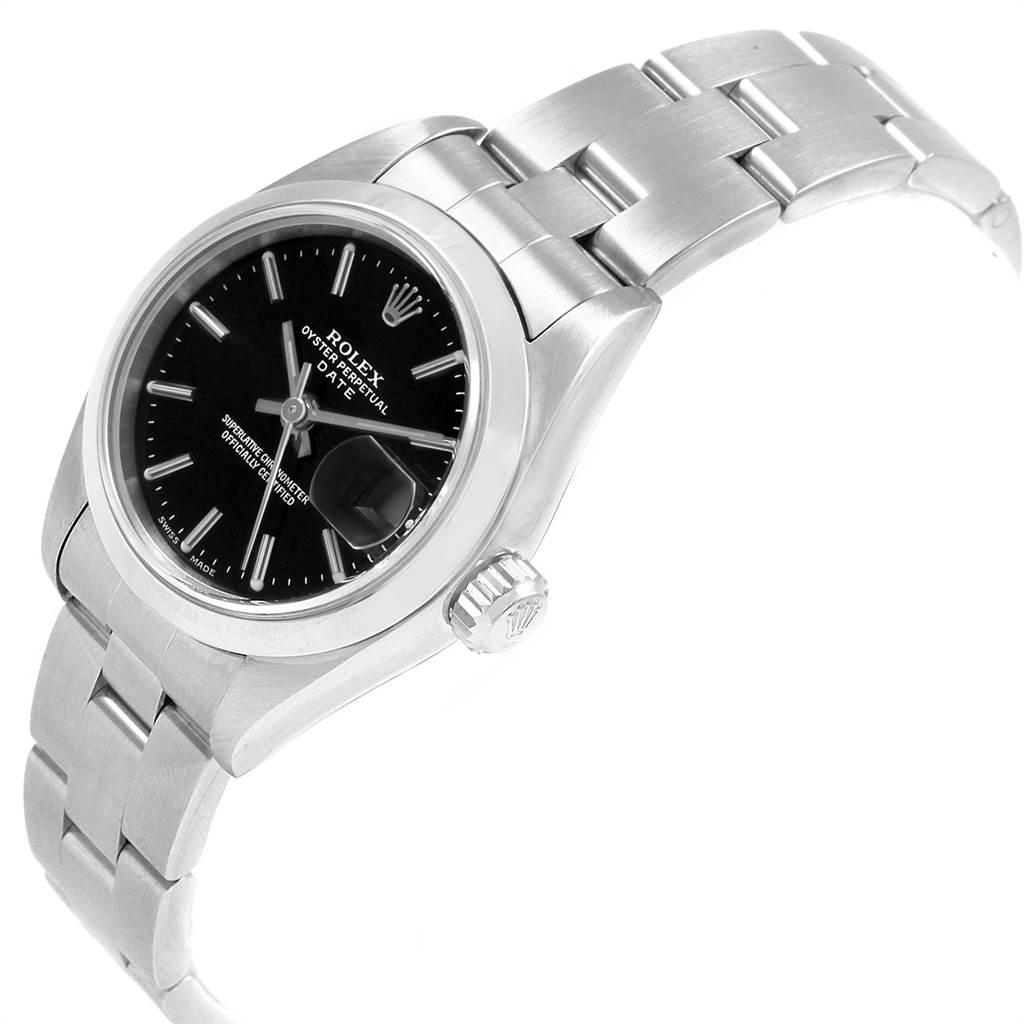 Rolex Date Black Dial Oyster Bracelet Steel Ladies Watch 79160 Papers SwissWatchExpo
