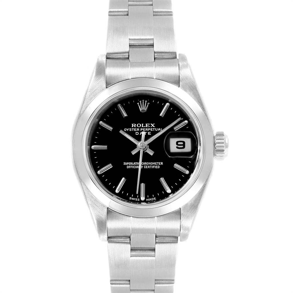 22495 Rolex Date Black Dial Oyster Bracelet Steel Ladies Watch 79160 Papers SwissWatchExpo