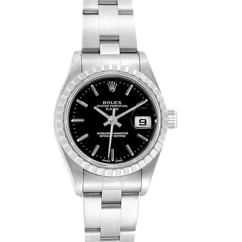 Rolex Date 26 Black Dial Oyster Bracelet Ladies Watch 79240 Box Papers SwissWatchExpo