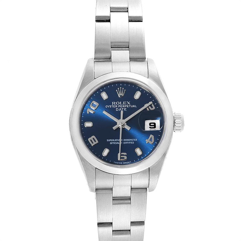 Rolex Date Blue Dial Domed Bezel Steel Ladies Watch 79160 Box Papers SwissWatchExpo