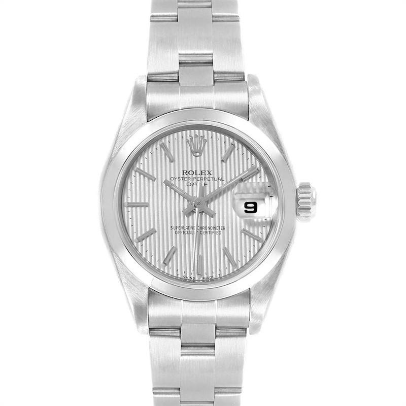 Rolex Date Tapestry Dial Oyster Bracelet Steel Ladies Watch 69160 SwissWatchExpo