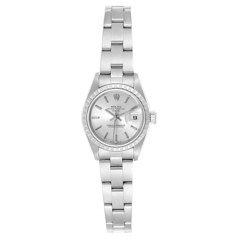 Rolex Date Silver Dial Oyster Bracelet Ladies Watch 79240 Box Papers SwissWatchExpo