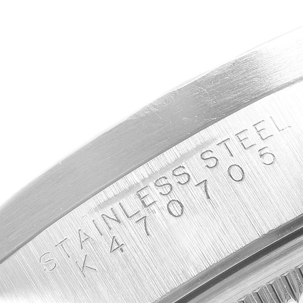 Rolex Date Blue Dial Engine Turned Bezel Steel Mens Watch 15210 SwissWatchExpo