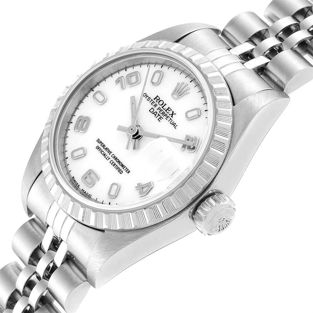 Rolex Date White Dial Jubilee Bracelet Ladies Watch 79240 Box SwissWatchExpo
