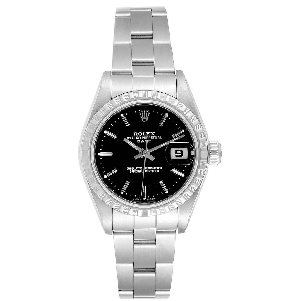 24936 Rolex Date 26 Black Dial Oyster Bracelet Ladies Watch 79240 SwissWatchExpo