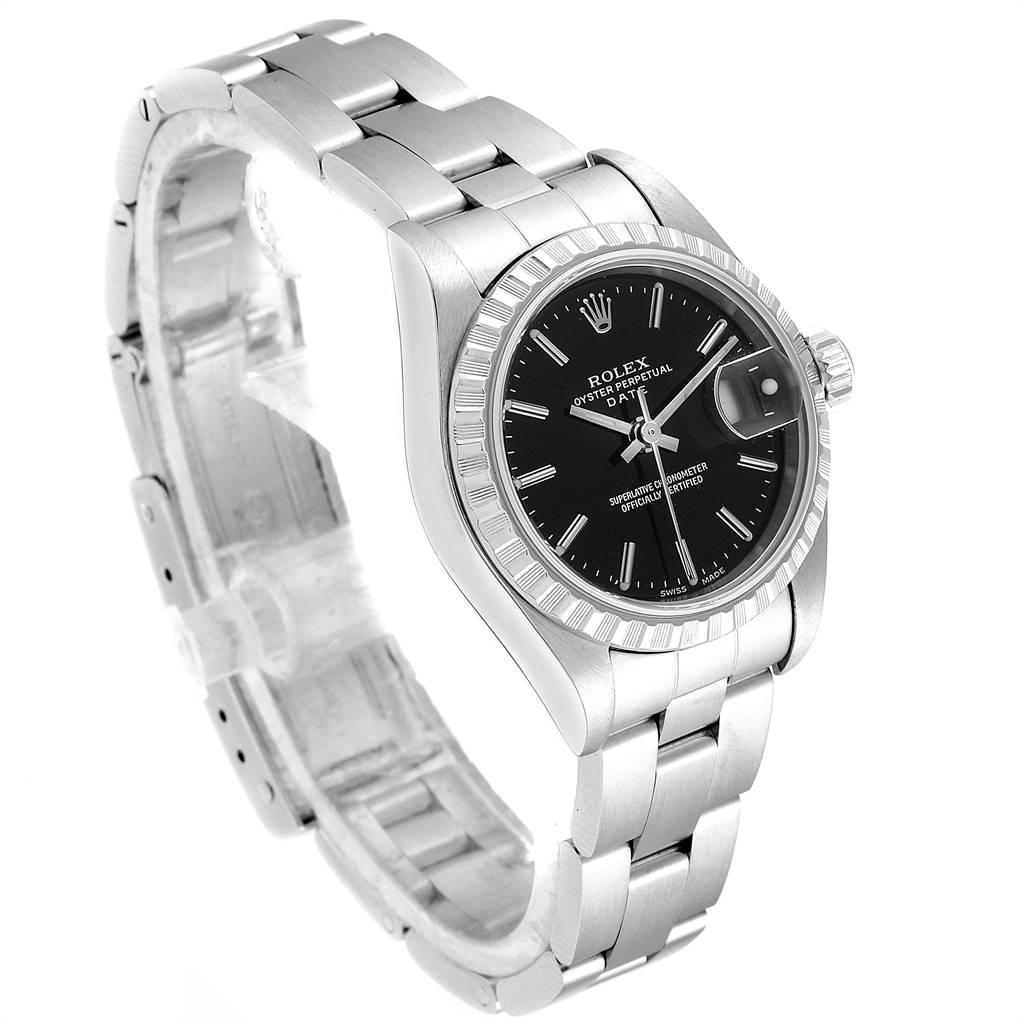Rolex Date 26 Black Dial Oyster Bracelet Ladies Watch 79240 SwissWatchExpo