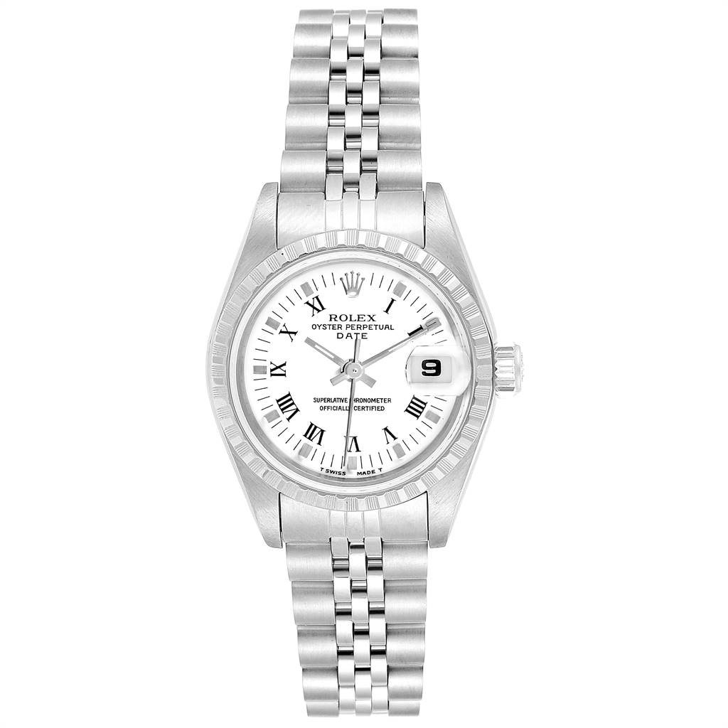 24938 Rolex Date White Dial Steel Ladies Watch 69240 Box Papers SwissWatchExpo