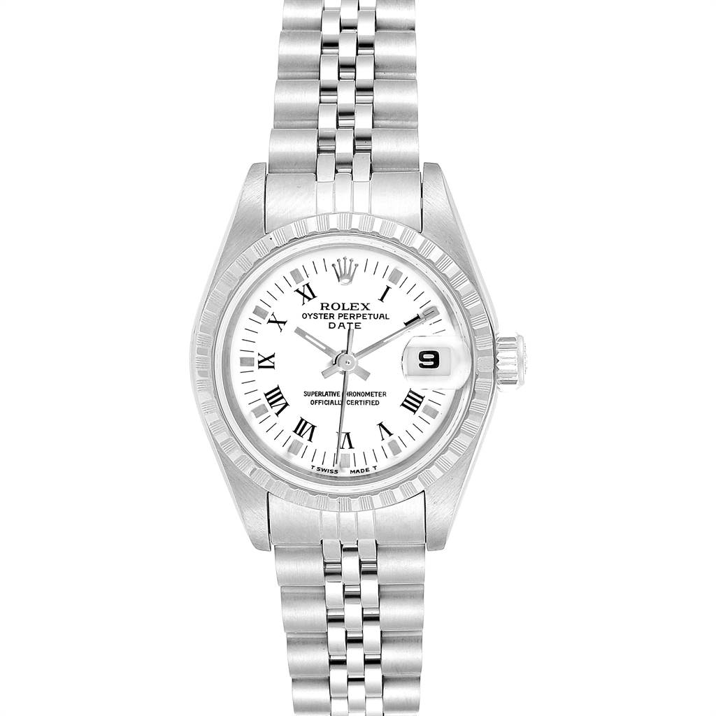 Rolex Date White Dial Steel Ladies Watch 69240 Box Papers SwissWatchExpo