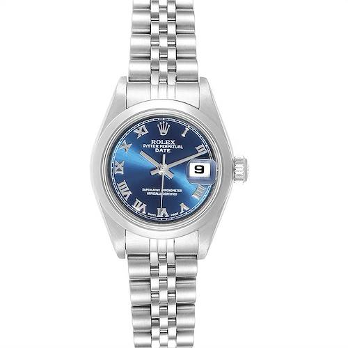 Photo of Rolex Date Blue Roman Dial Steel Ladies Watch 79160 Box Papers