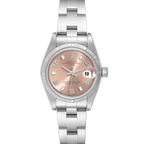 Photo of Rolex Date Salmon Dial Oyster Bracelet Steel Ladies Watch 79190 Box Papers