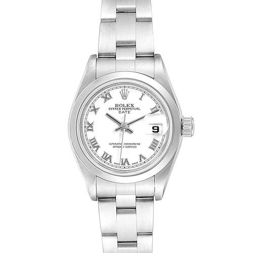 Photo of Rolex Date White Dial Domed Bezel Steel Ladies Watch 79160 Box Papers