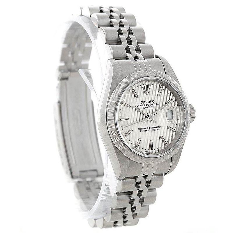Rolex Date Women Steel Silver Tapestry Dial Watch 79240 SwissWatchExpo