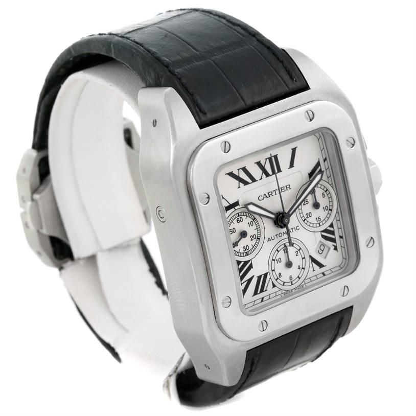 10072 Cartier Santos 100 X-Large Silver Dial Chronograph Watch W20090X8 SwissWatchExpo