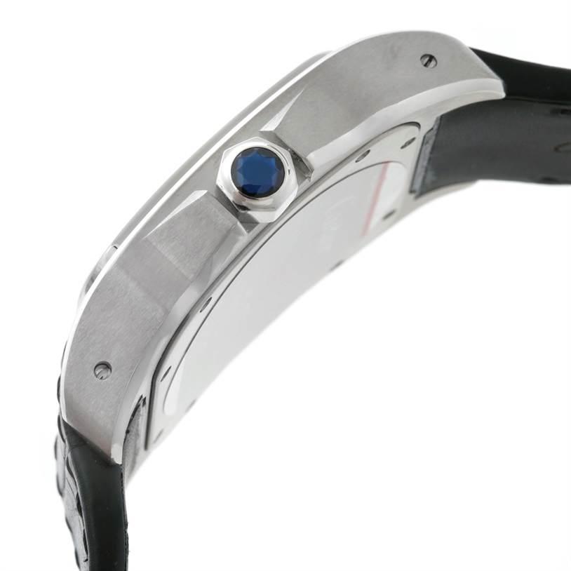 8791 Cartier Santos 100 Stainless Black Strap Mens Watch W20073X8 Unworn SwissWatchExpo
