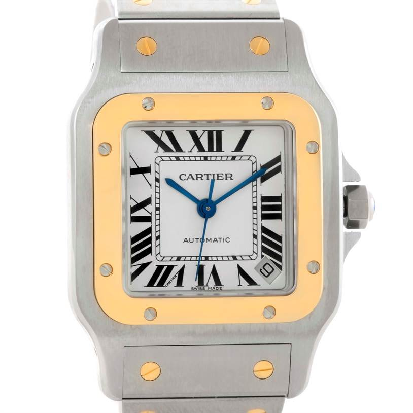 10461 Cartier Santos Galbee XL Steel 18K Yellow Gold Mens Watch W20099C4 SwissWatchExpo
