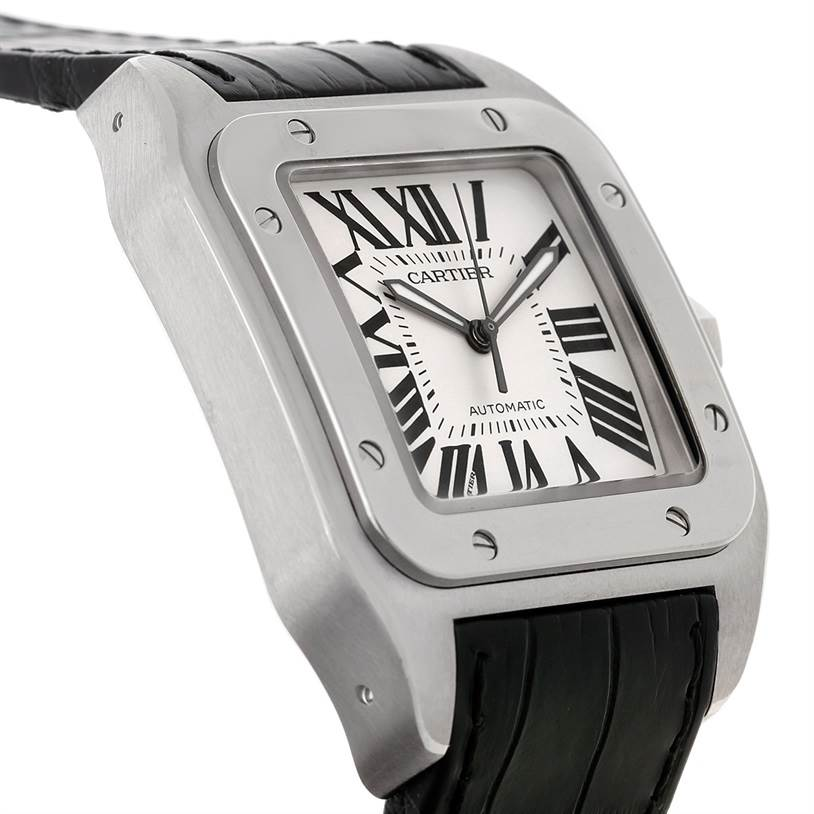 8212 Cartier Santos 100 Stainless Black Strap Mens Watch W20073X8 Unworn SwissWatchExpo