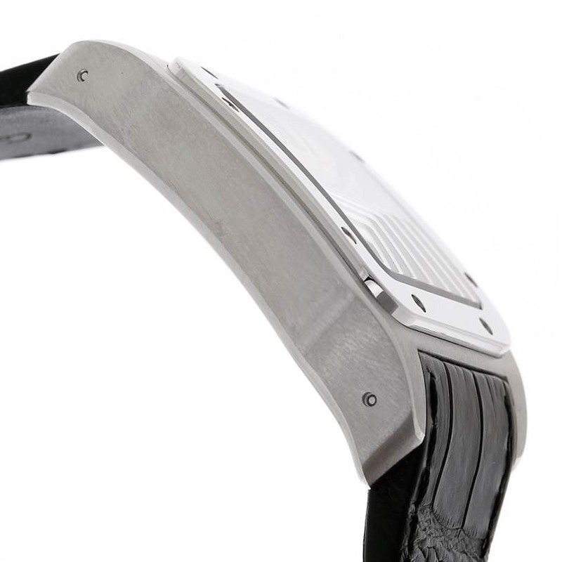 Cartier Santos 100 Stainless Black Strap Mens Watch W20073X8 Unworn SwissWatchExpo
