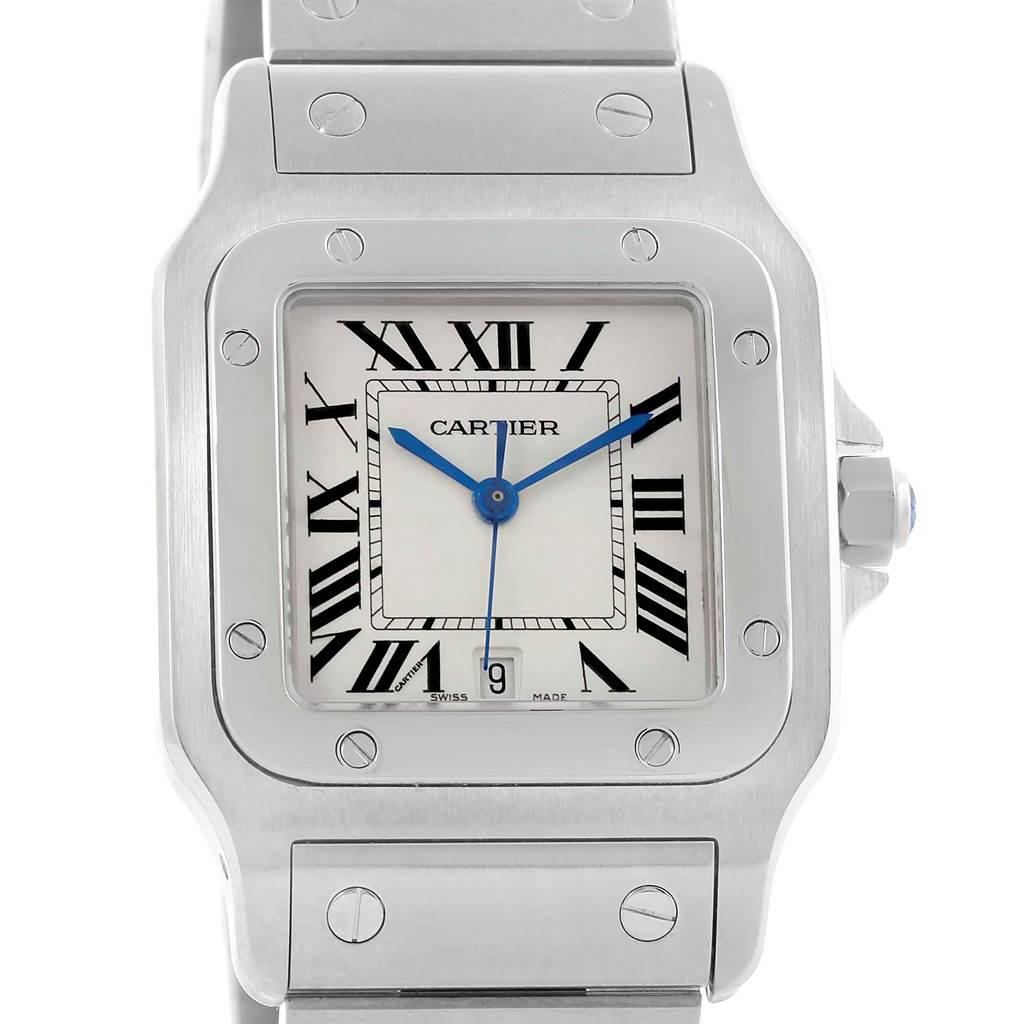 9100 Cartier Santos Galbee Mens Quartz Steel Date Watch W20060D6 SwissWatchExpo