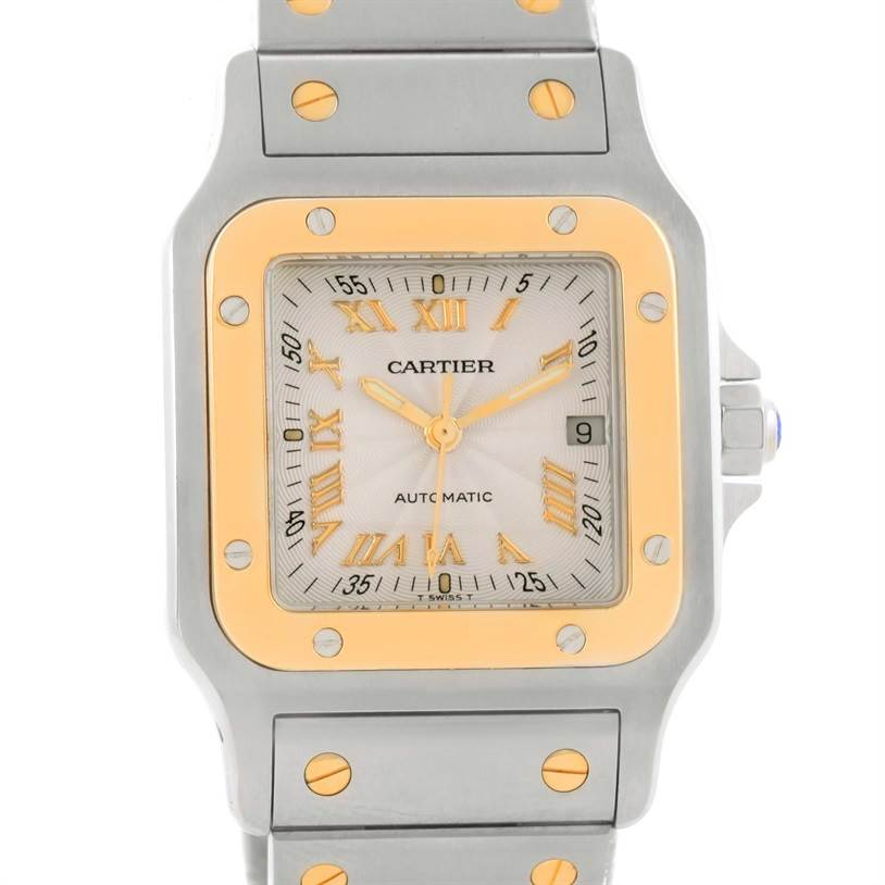 Cartier Santos Galbee Steel Yellow Gold Guilloche Dial Watch W20058C4 SwissWatchExpo