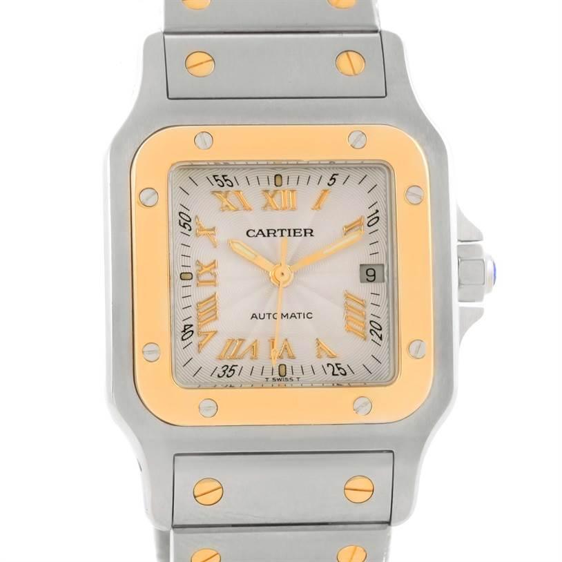 8358 Cartier Santos Galbee Steel Yellow Gold Guilloche Dial Watch W20058C4 SwissWatchExpo