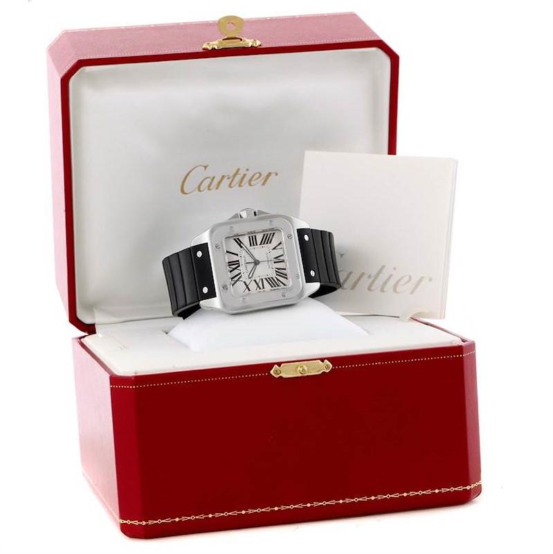 Cartier Santos 100 Steel Rubber Strap Automatic Mens Watch W20073X8 SwissWatchExpo