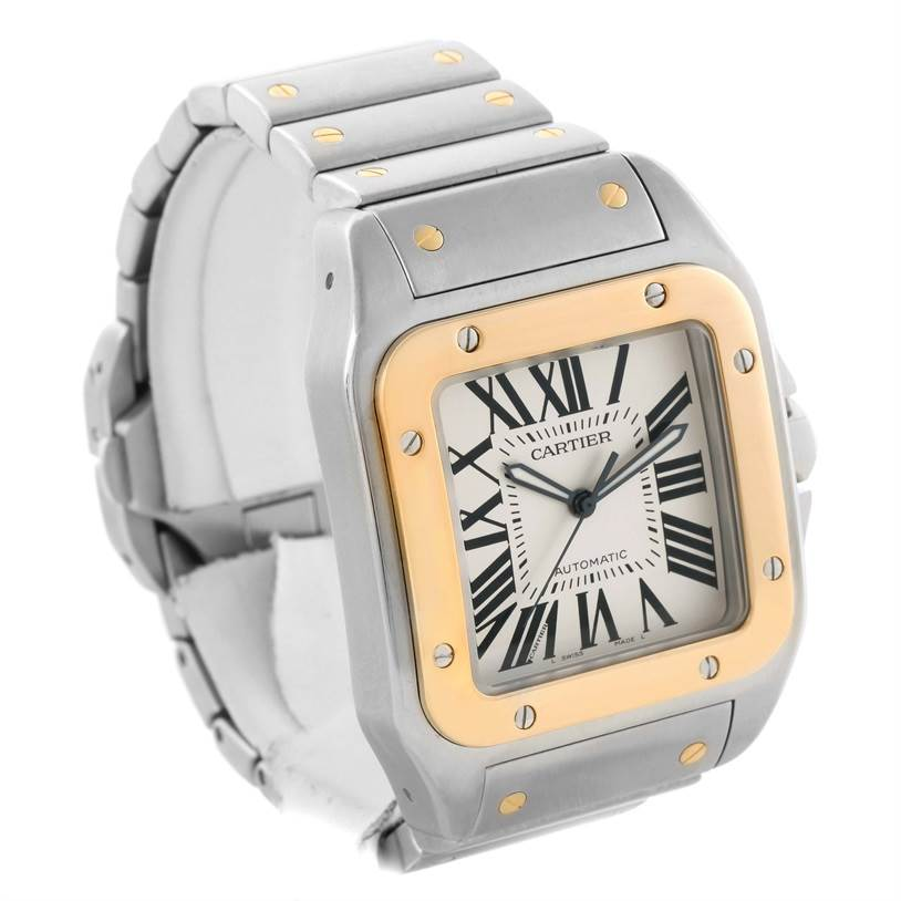 Cartier Santos 100 XL Steel Yellow Gold Watch W200728G Box Papers SwissWatchExpo