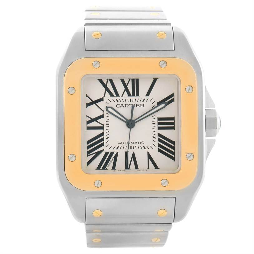 11651 Cartier Santos 100 XL Steel Yellow Gold Watch W200728G Box Papers SwissWatchExpo