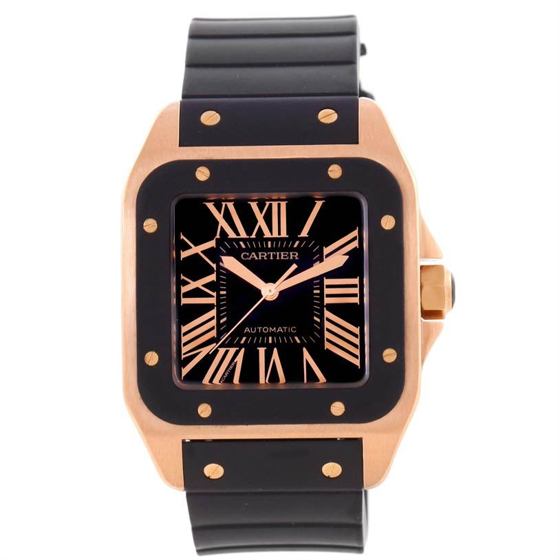 11924 Cartier Santos 100 XL Rose Gold Black Rubber Strap Watch W20124U2 SwissWatchExpo