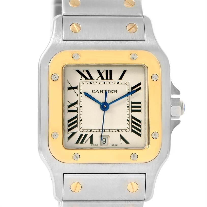 12161 Cartier Santos Large Steel 18K Yellow Gold Quartz Watch W20011C4 SwissWatchExpo