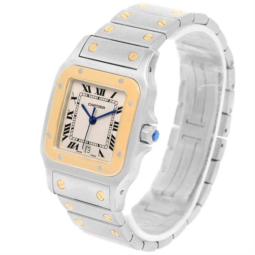 12162 Cartier Santos Galbee Large Steel 18K Yellow Gold Quartz Watch W20011C4 SwissWatchExpo