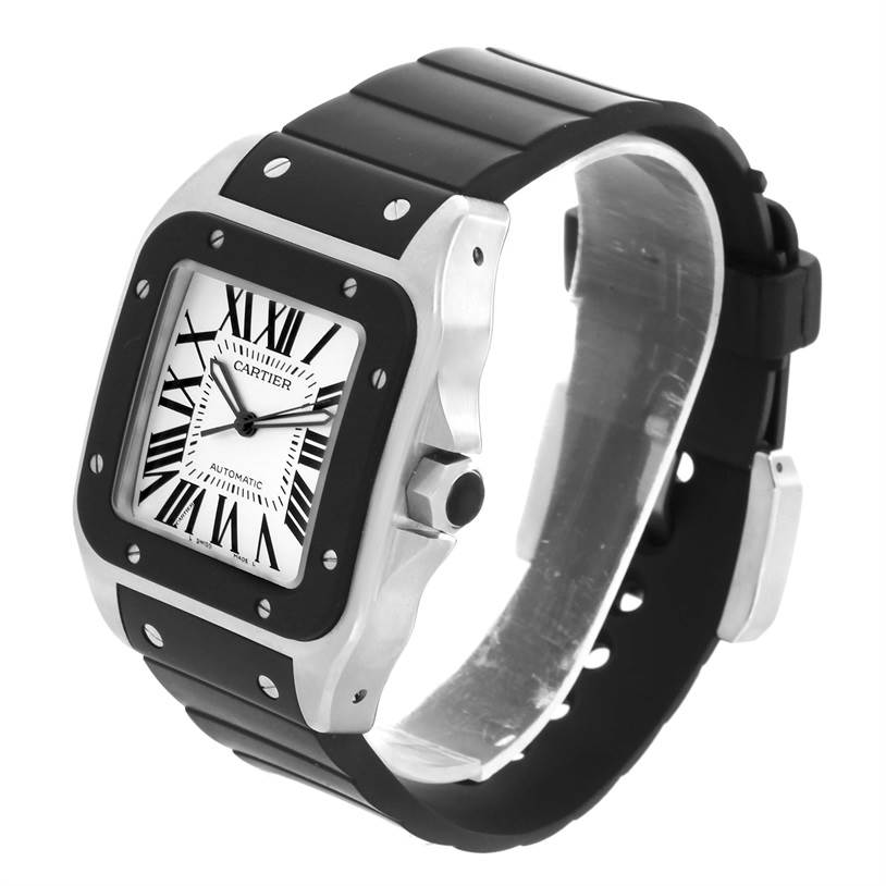 13265 Cartier Santos 100 Stainless Steel Black Rubber Watch W20121U2 SwissWatchExpo