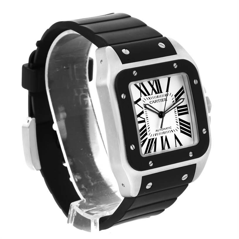 13265 Cartier Santos 100 Stainless Steel Black Rubber Watch W20121U2 SwissWatchExpo