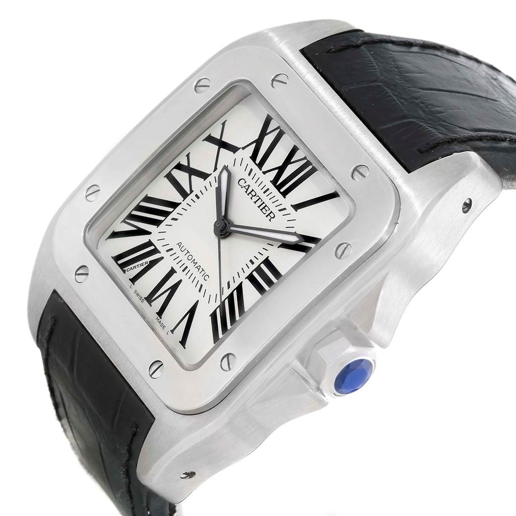 Cartier Santos 100 Silver Dial Steel Black Strap Mens Watch W20073X8 SwissWatchExpo