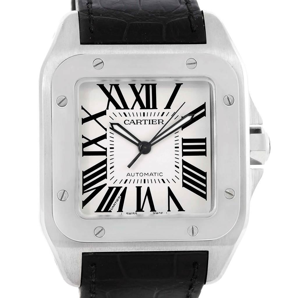 13184 Cartier Santos 100 Silver Dial Steel Black Strap Mens Watch W20073X8 SwissWatchExpo