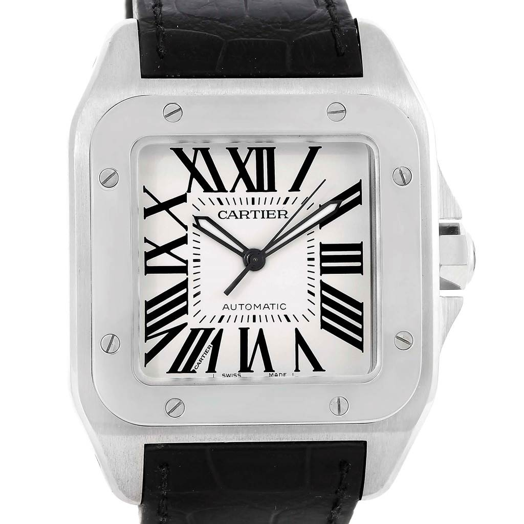 13482 Cartier Santos 100 Silver Dial Steel Black Strap Mens Watch W20073X8 SwissWatchExpo