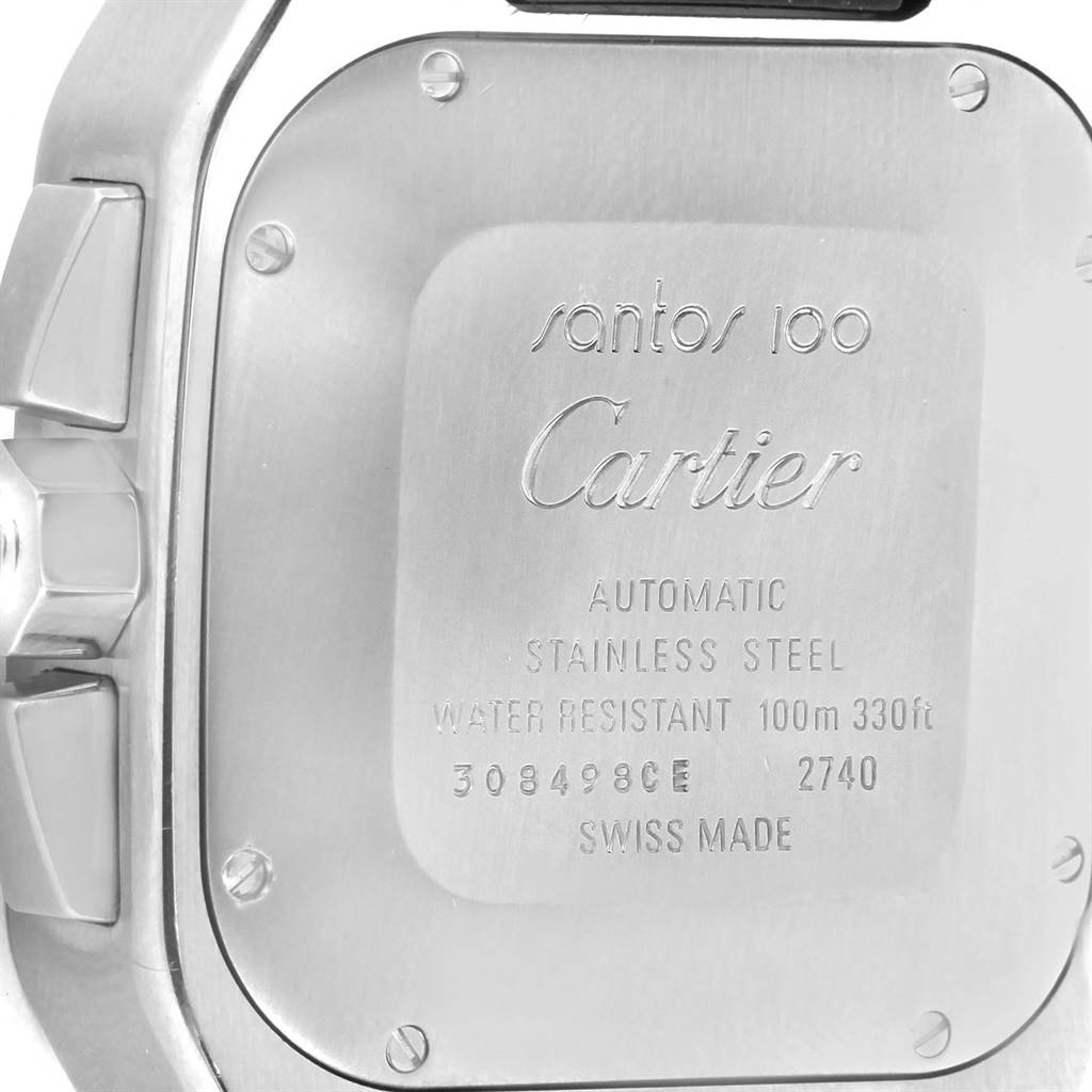 13706 Cartier Santos 100 X-Large Silver Dial Chronograph Watch W20090X8 SwissWatchExpo