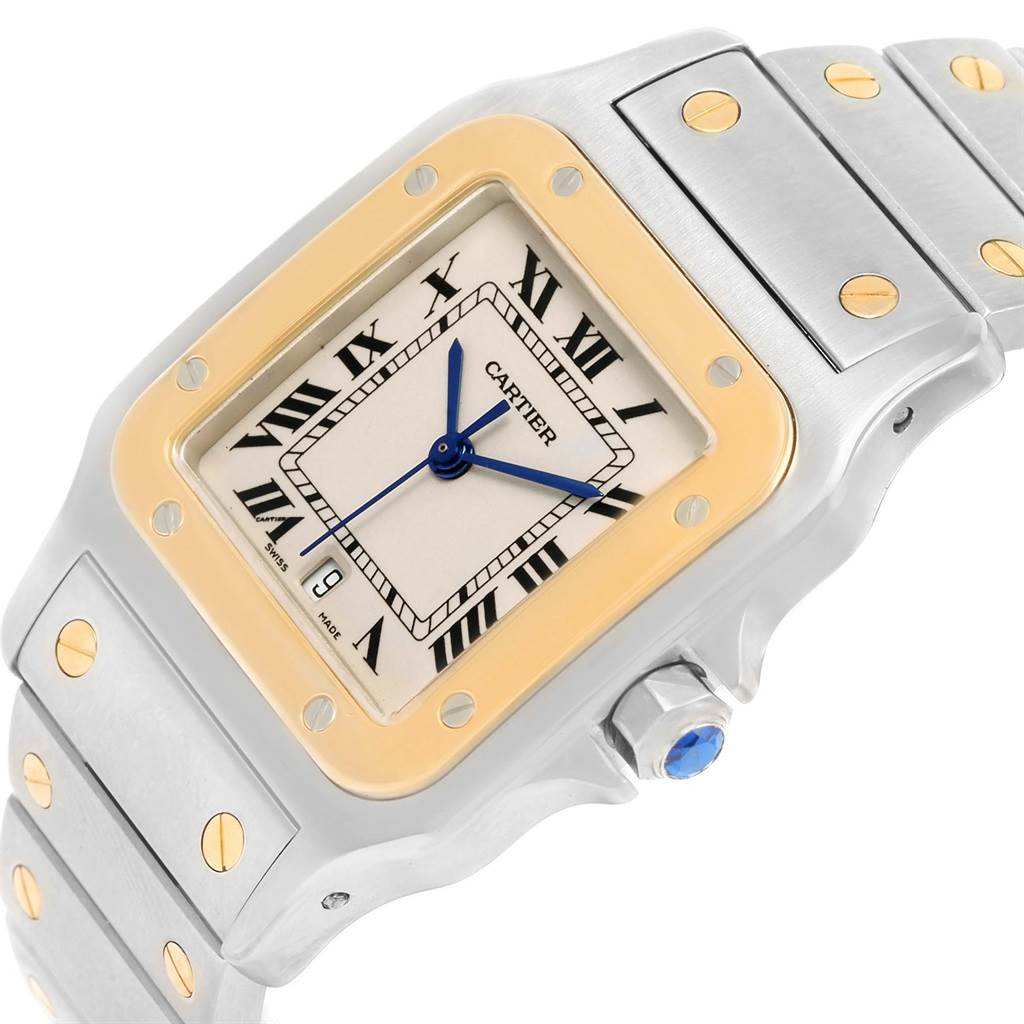 14167 Cartier Santos Galbee Large Steel 18K Yellow Gold Quartz Watch 1566 SwissWatchExpo