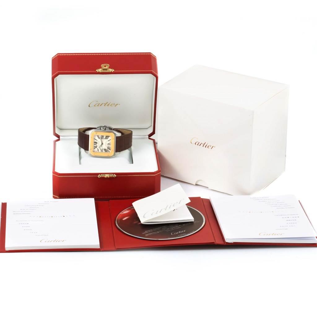 14378 Cartier Santos 100 Steel Yellow Gold Mens Watch W20072X7 Box Papers SwissWatchExpo