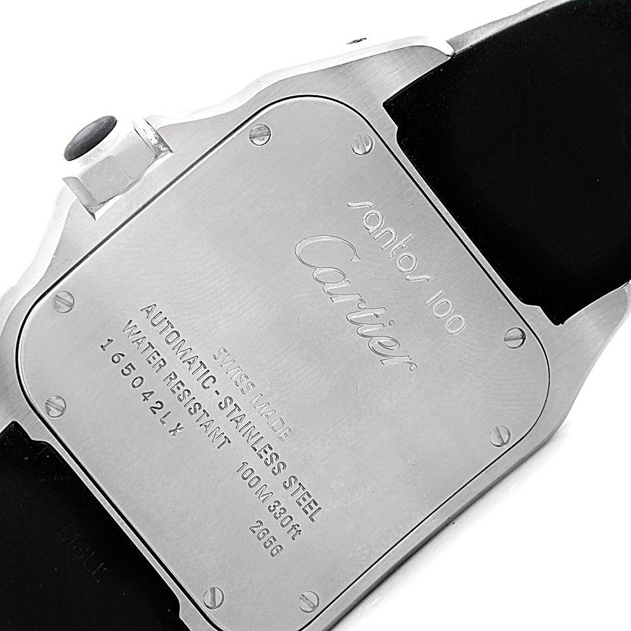 5842A Cartier Santos 100 Stainless Steel Black Rubber Watch W20121U2 SwissWatchExpo