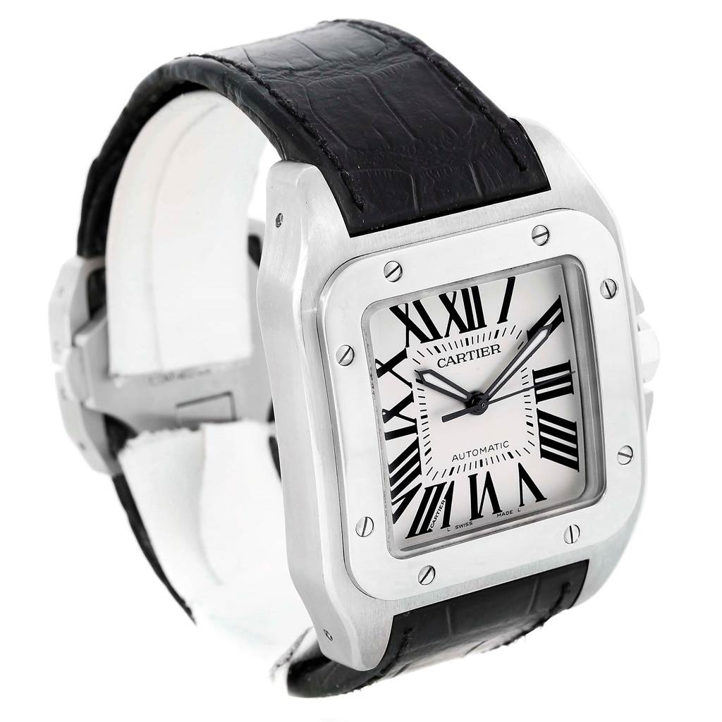 13483 Cartier Santos 100 Silver Dial Steel Black Strap Mens Watch W20073X8 SwissWatchExpo