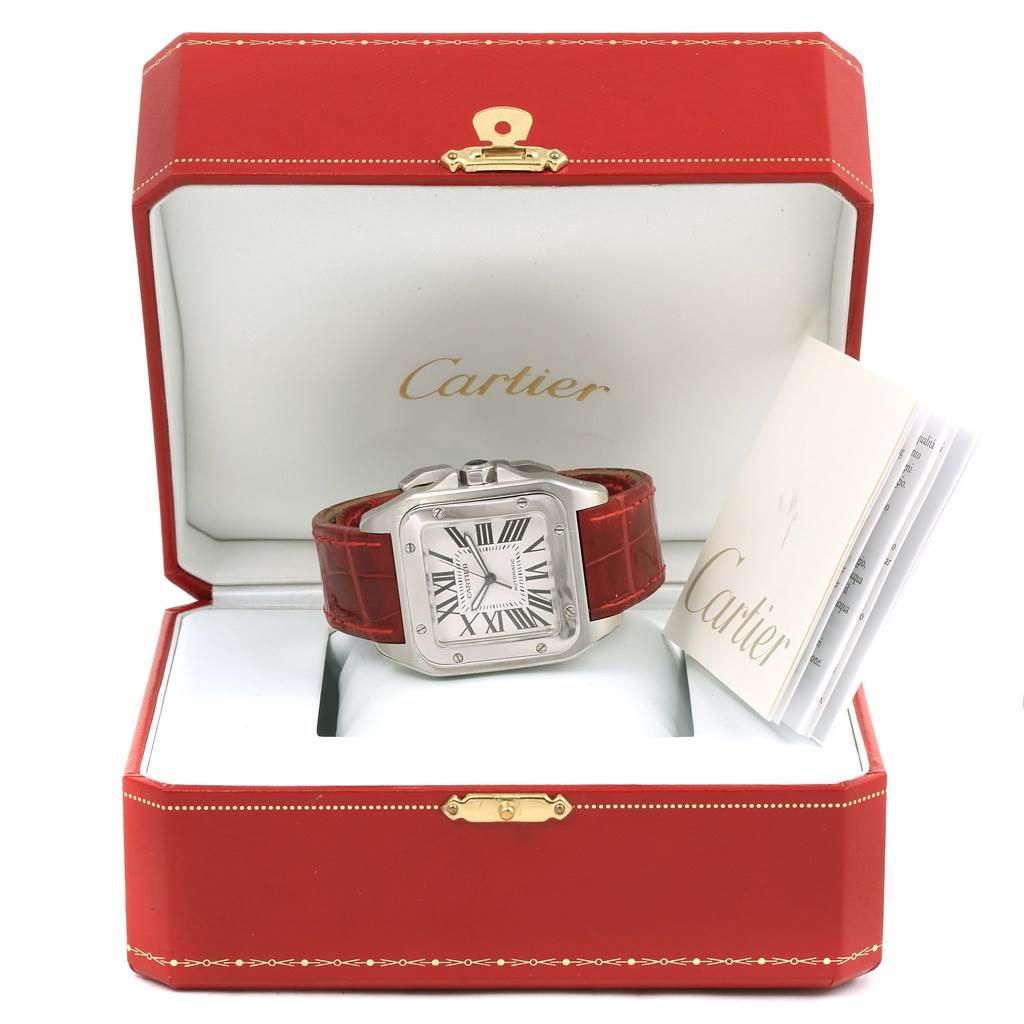 13481 Cartier Santos 100 Silver Dial Steel Red Strap Mens Watch W20073X8 SwissWatchExpo