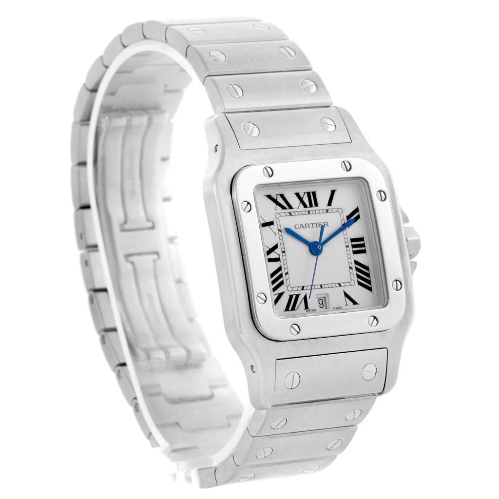 15070 Cartier Santos Galbee Silver Dial Steel Unisex Watch W20060D6 SwissWatchExpo