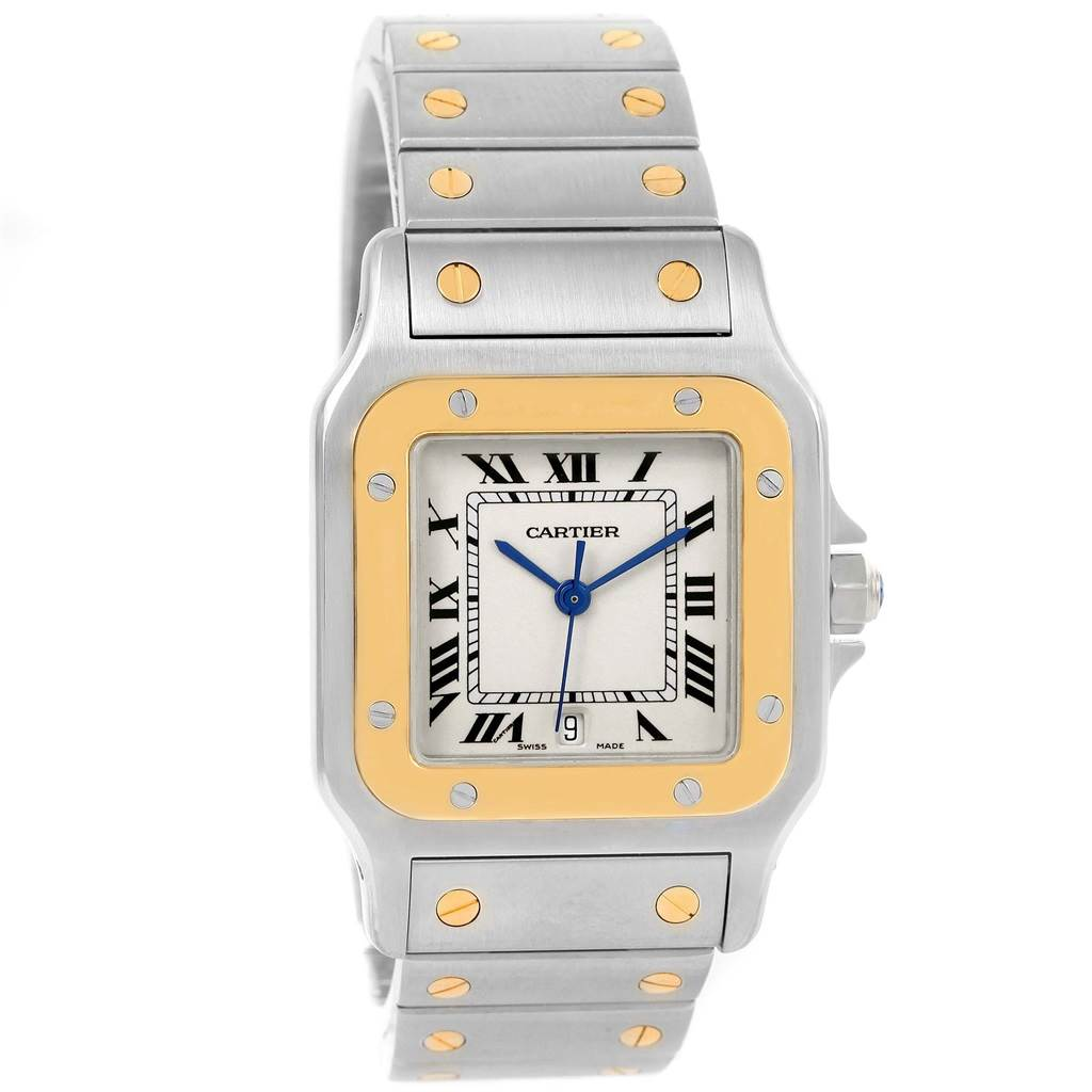 15363 Cartier Santos Galbee Large Steel 18K Yellow Gold Quartz Watch 187901 SwissWatchExpo