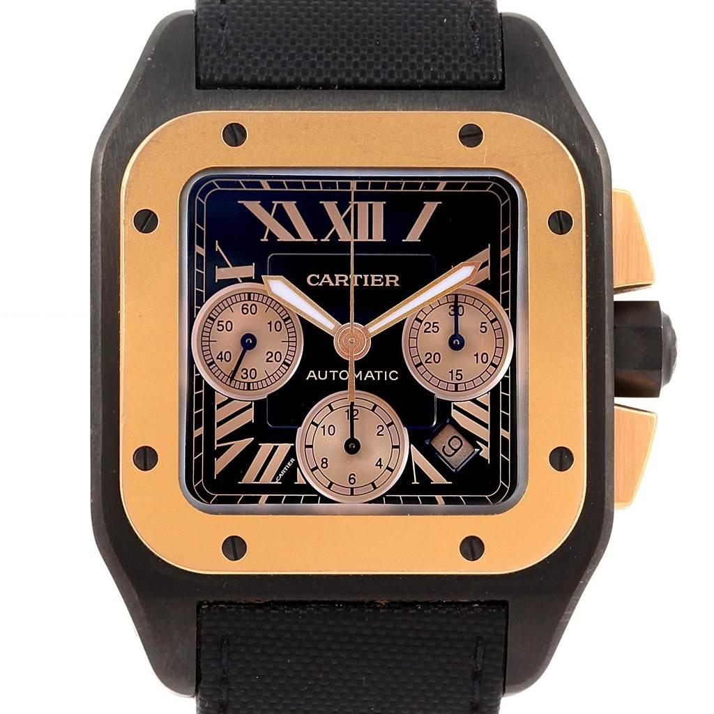 f251e46dd7e27 ... 15934 Cartier Santos 100 XL Carbon Rose Gold Chronograph Watch W2020004  SwissWatchExpo ...