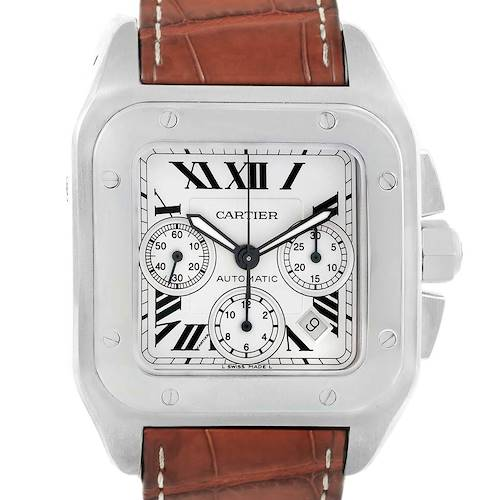 Photo of Cartier Santos 100 X-Large Silver Dial Chronograph Watch W20090X8